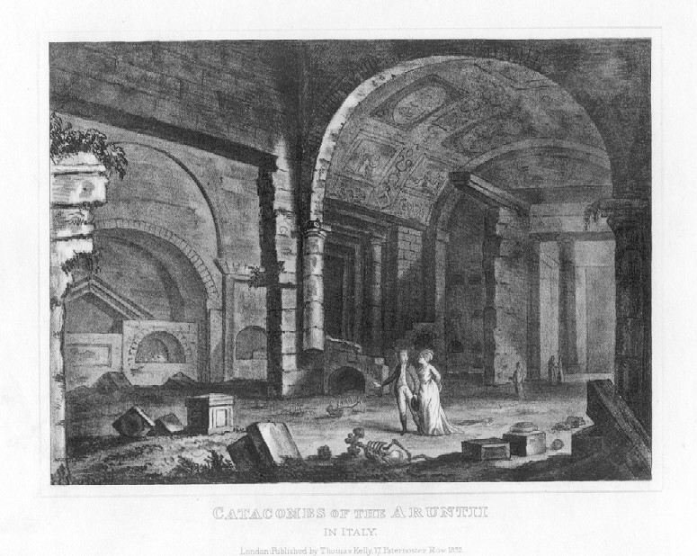 CATACOMBS OF THE ARUNTII,1832 Historical Antique Print