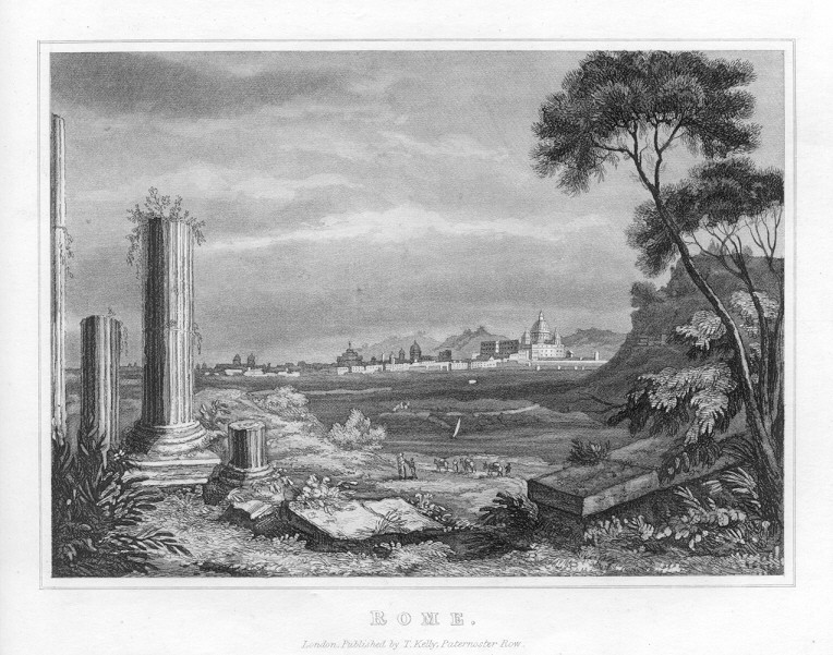 ROME,ITALY,Panoramic View,1835 Historical Antique Print