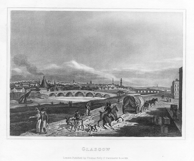 GLASGOW,SCOTLAND,City View,1832 Antique Print