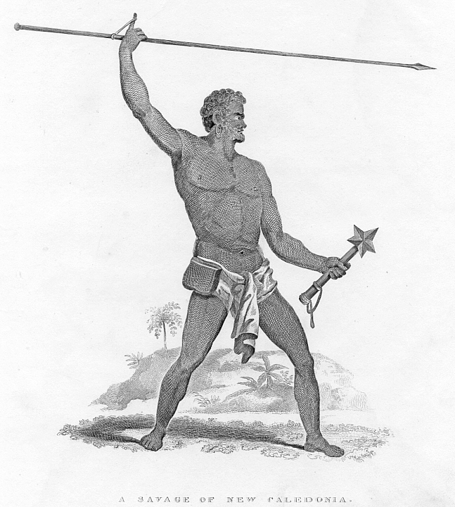 NEW CALEDONIA ABORIGINAL MAN,1835 Antique Print