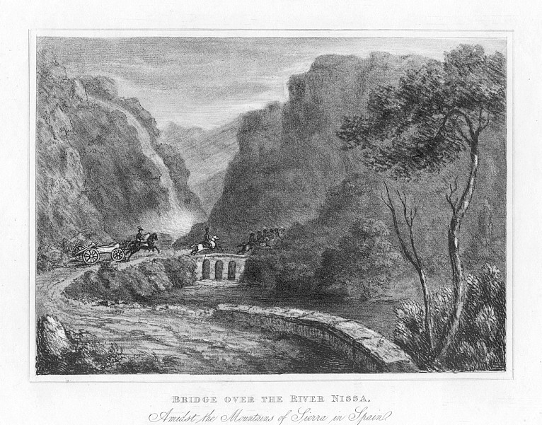 BRIDGE OVER THE RIVER NISSA,1832 Antique Print