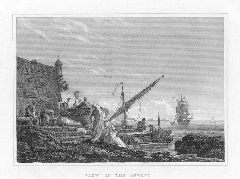 VIEW OF TALL SHIPS IN THE LEVANT,1835 Print