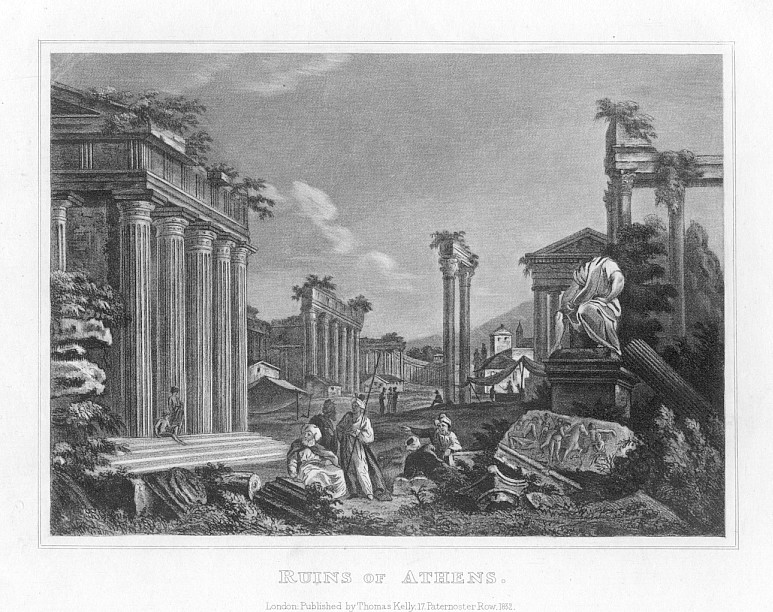 RUINS OF ATHENS,1832 Historical Antique Print