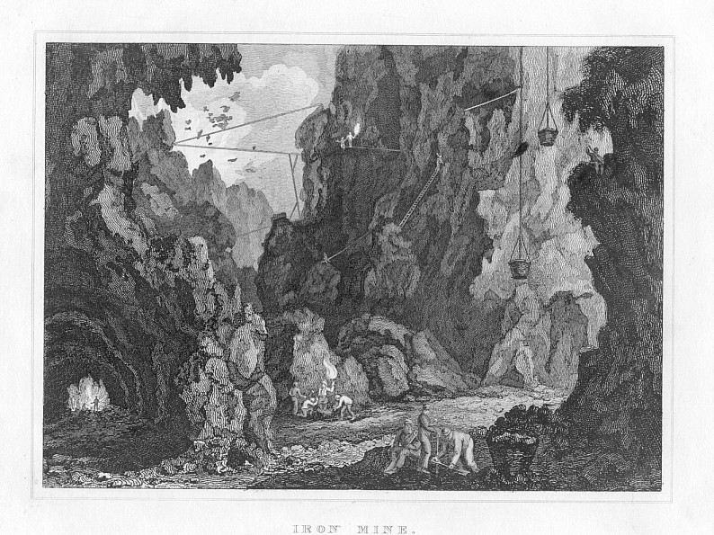 HUNGARIAN IRON MINE,1832 Historical Antique Print
