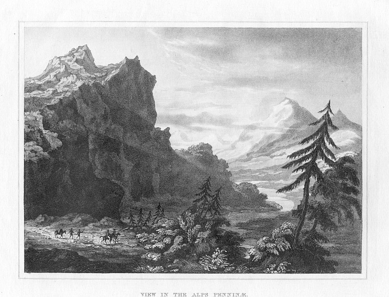 VIEW IN THE PENNINAE ALPS,1832 Historical Antique Print