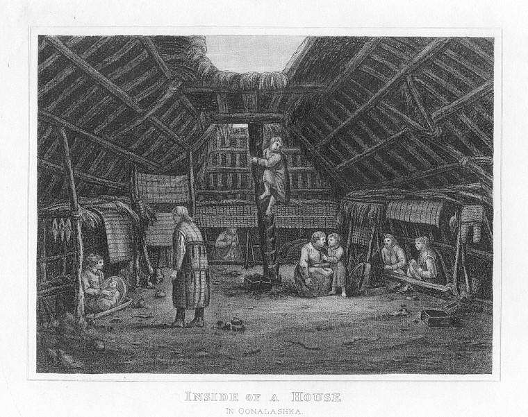OONALASHKA ALASKA HOUSE INTERIOR, 1832 Print