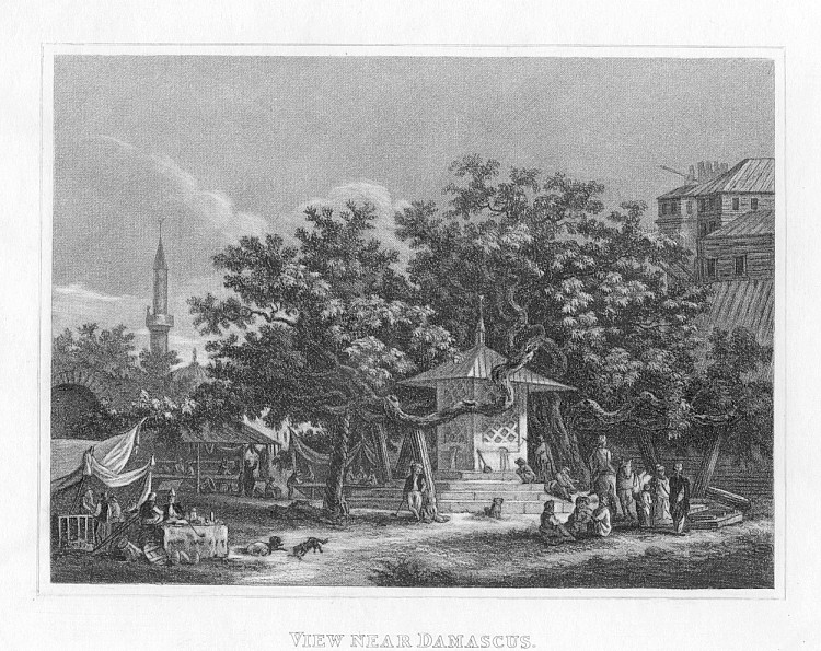 VIEW NEAR DAMASCUS,1832 Historical Antique Print