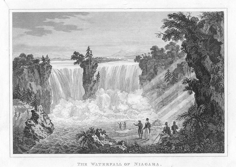 NIAGARA FALLS,1832 Historical Antique Print